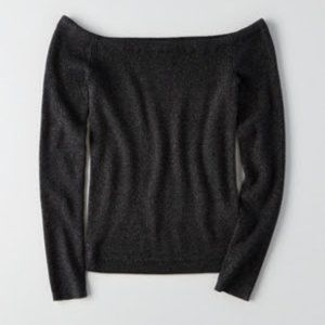 NWT Off the Shoulder Gray Ribbed Sweater XS